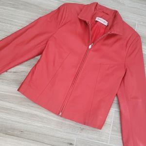 Mariela Gucinelli red genuine leather jacket sz 40